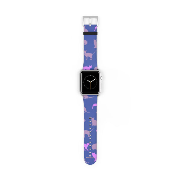 Purple Pink Cats Print 38mm/42mm Premium Watch Band For Apple Watch- Made in USA-Watch Band-42 mm-Silver Matte-Heidi Kimura Art LLC