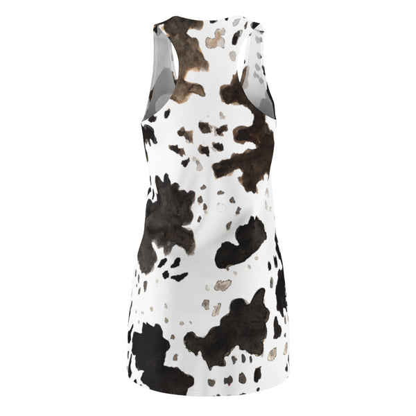 Cow Print Black White Brown Women's Long Sleeveless Racerback Dress -Made in USA (XS-2XL)-Women's Sleeveless Dress-Heidi Kimura Art LLC
