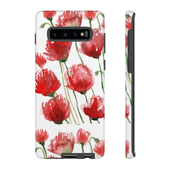 Red Tulips Floral Tough Cases, Roses Flower Print Best Designer Phone Case-Made in USA-Phone Case-Printify-Samsung Galaxy S10 Plus-Matte-Heidi Kimura Art LLC