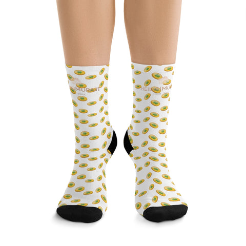 White Green Gold Coins Print St. Patrick's Day Unisex One-size Premium Socks- Made in USA-Socks-One size-Heidi Kimura Art LLC