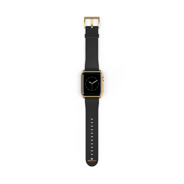 Black Solid Color Print 38mm/ 42mm Watch Band Strap For Apple Watches- Made in USA-Watch Band-Heidi Kimura Art LLC