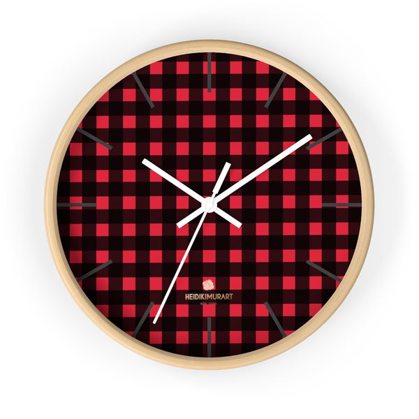 Londoner Buffalo Red Plaid Print Designer 10 in. Dia. Indoor Wall Clock-Made in USA-Wall Clock-10 in-Wooden-White-Heidi Kimura Art LLC