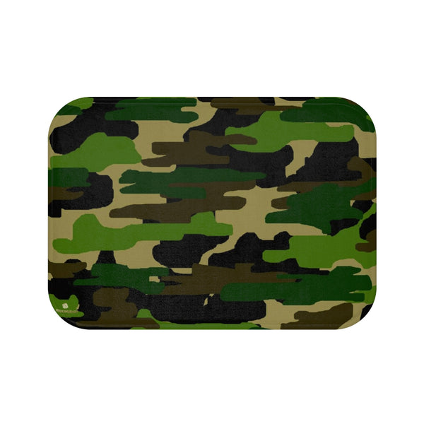 Green Camo Army Military Camoflage Print Premium Soft Microfiber Bath Mat- Printed in USA-Bath Mat-Small 24x17-Heidi Kimura Art LLC