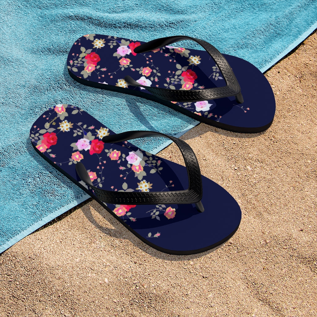 Navy Blue Floral Rose Print Unisex Flip-Flops Beach Pool Cute Sandals- Made in USA-Flip-Flops-Small-Heidi Kimura Art LLC