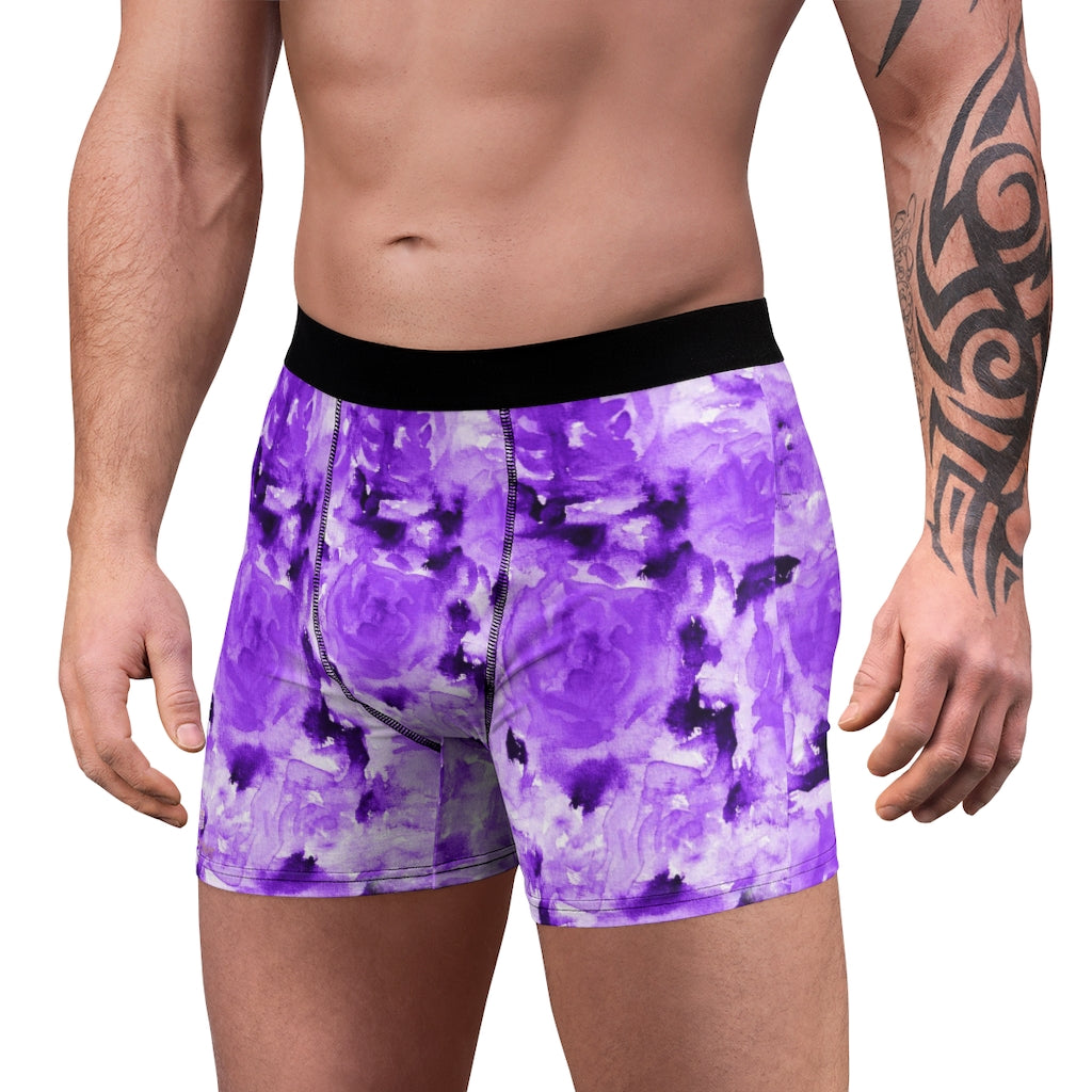 Purple Rose Men's Boxer Briefs, Best Premium Designer Flower Floral Print Designer Fashion Underwear For Sexy Gay Men, Men's Gay Fetish Party Erotic Boxer Briefs Elastic Underwear (US Size: XS-3XL)