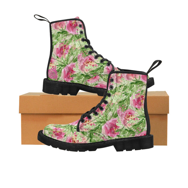 Pink French Rose Floral Print Designer Women's Winter Lace-up Toe Cap Boots-Women's Boots-Heidi Kimura Art LLC
