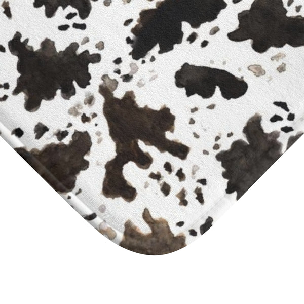 Cow Print White Brown Black Designer 100% Microfiber Anti-Slip Backing Bath Mat-Bath Mat-Heidi Kimura Art LLC