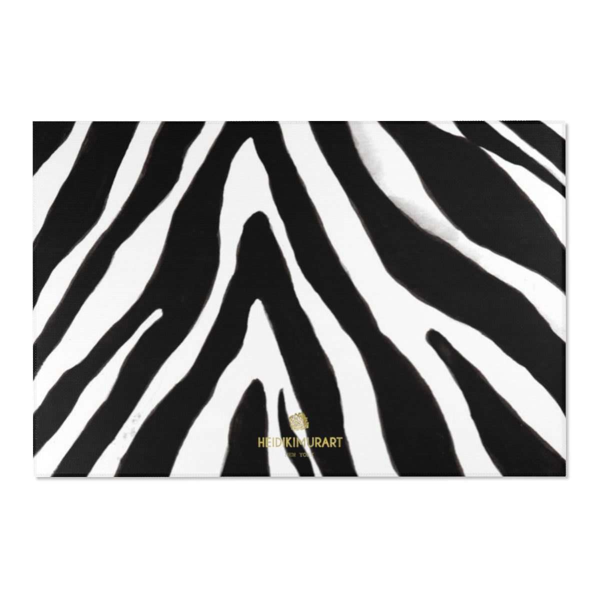 "Deluxe White Black Zebra Animal Print Designer 24x36, 36x60, 48x72 inches Area Rugs-Area Rug-72"" x 48""-Heidi Kimura Art LLC"