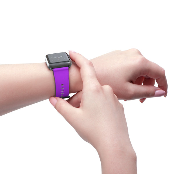 Purple Solid Color Print 38mm/42mm Watch Band For Apple Watches- Made in USA-Watch Band-38 mm-Black Matte-Heidi Kimura Art LLC