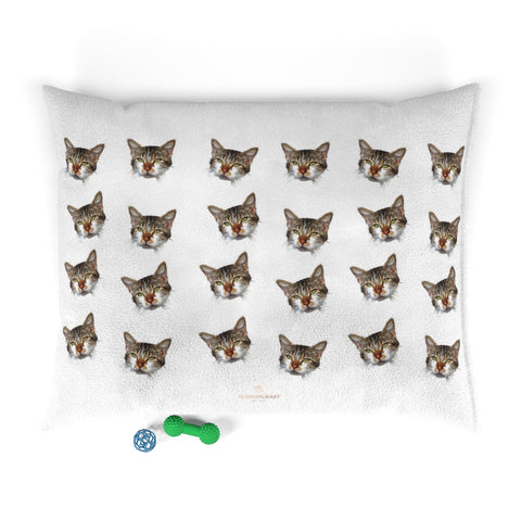 White Cat Pet Bed, Solid Color Machine-Washable Pet Pillow With Zippers-Printed in USA-Pets-Printify-50x40-Heidi Kimura Art LLC