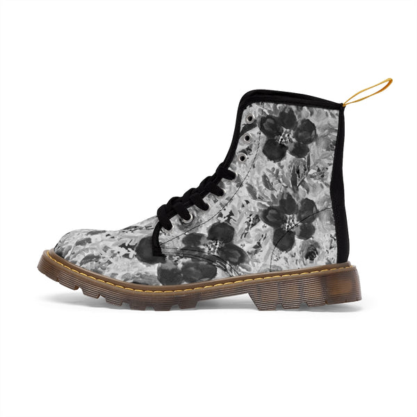 Black Floral Women's Canvas Boots-Shoes-Printify-Heidi Kimura Art LLCBlack Floral Women's Canvas Boots, Flower Rose Print Ladies Fashion Lace-Up Hiking Boots, Best Ladies' Combat Boots, Designer Women's Winter Lace-up Toe Cap Hiking Boots Shoes For Women (US Size 6.5-11)