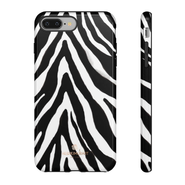 Zebra Stripe Phone Case, Animal Print Tough Designer Phone Case -Made in USA-Phone Case-Printify-iPhone 8 Plus-Glossy-Heidi Kimura Art LLC