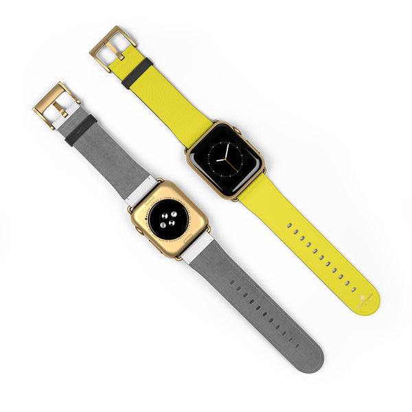 Yellow Solid Color 38mm/42mm Watch Band Strap For Apple Watches- Made in USA-Watch Band-Heidi Kimura Art LLC