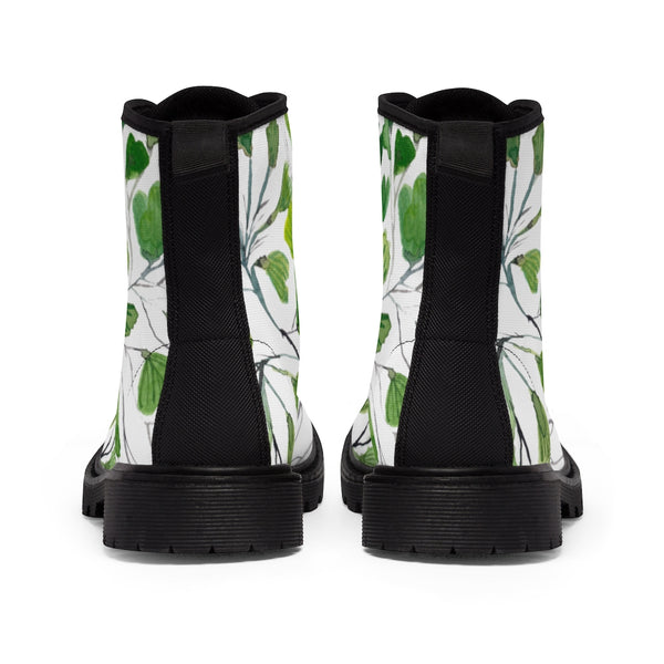 Green Maidenhair Women's Canvas Boots, Tropical Fern Print Winter Boots For Ladies-Shoes-Printify-Heidi Kimura Art LLC