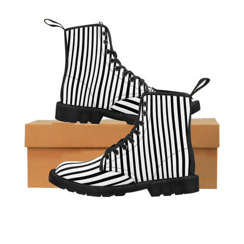 Black Striped Print Men's Boots, Black White Stripes Best Hiking Winter Boots Laced Up Shoes For Men-Shoes-Printify-Heidi Kimura Art LLC Black Striped Print Men's Boots, Black White Stripes Men's Canvas Hiking Winter Boots, Fashionable Modern Minimialist Best Anti Heat + Moisture Designer Comfortable Stylish Men's Winter Hiking Boots Shoes For Men (US Size: 7-10.5)
