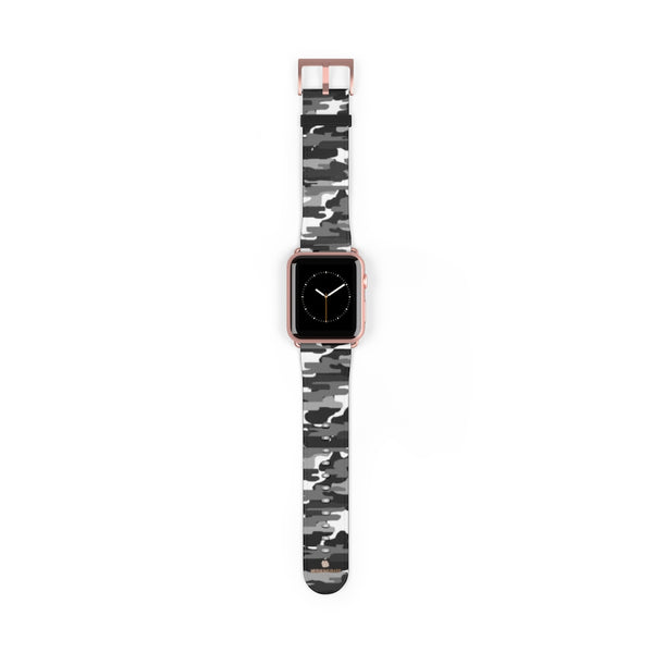 Gray & White Classic Camo Print 38mm/42mm Watch Band For Apple Watch- Made in USA-Watch Band-42 mm-Rose Gold Matte-Heidi Kimura Art LLC