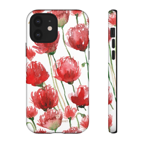 Red Tulips Floral Tough Cases, Roses Flower Print Best Designer Phone Case-Made in USA-Phone Case-Printify-iPhone 12-Matte-Heidi Kimura Art LLC
