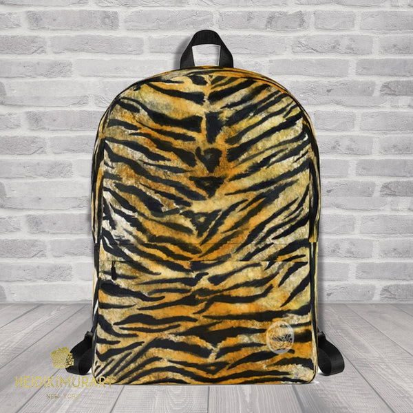 "Brown Orange Bengal Tiger Striped Animal Print Designer Backpack Bag - Made in USA/EU-Backpack-Heidi Kimura Art LLC Brown Tiger Stripe Backpack, Brown Orange Bengal Tiger Striped Animal Print Designer Medium Size H 16⅞"", W 12¼"", D 3⅞"" Backpack - Made in USA/ Europe, Tiger Stripe Backpack, Luggage Carry On Travel Bag"