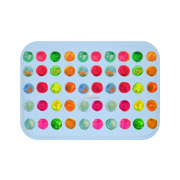 Polka Dot Bath Mat, Baby Pastel Blue Colorful Dots Print Microfiber Bath Mat- Made in USA-Bath Mat-Small 24x17-Heidi Kimura Art LLC
