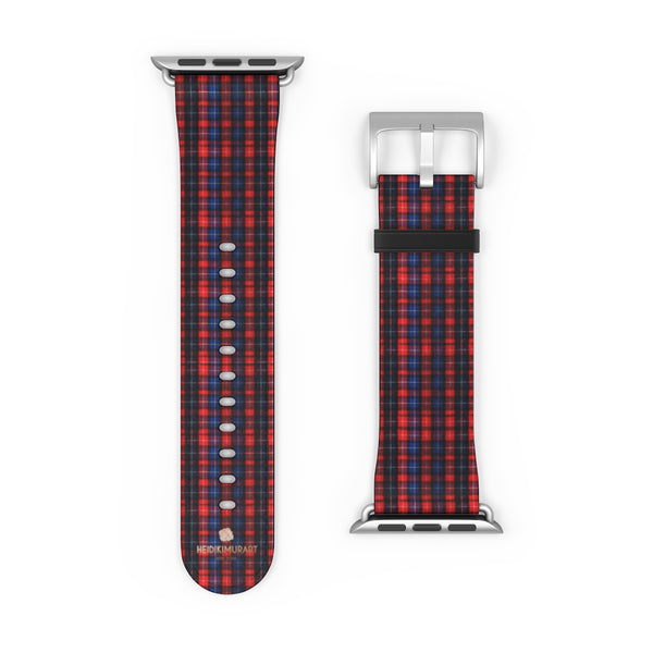 Red Blue Plaid Tartan Print 38mm/42mm Watch Band For Apple Watch- Made in USA-Watch Band-Heidi Kimura Art LLC
