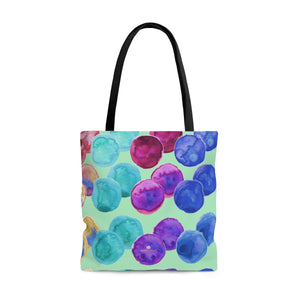 Pastel Green Colorful Polka Dots Designer Women's Tote Bag - Made in USA