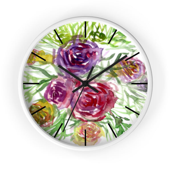 "Pink Purple Floral Rose 10 inch Diameter Shabby Chic Girlie Wall Clock - Made in USA-Wall Clock-White-Black-Heidi Kimura Art LLC Pink Rose Floral Clock, Pink Purple Floral Print Rose 10"" Diameter Flower Large Modern Wall Clock, Made in USA,Red Pastel Wood Clock, Blush Wall Clock, Rose Clock"