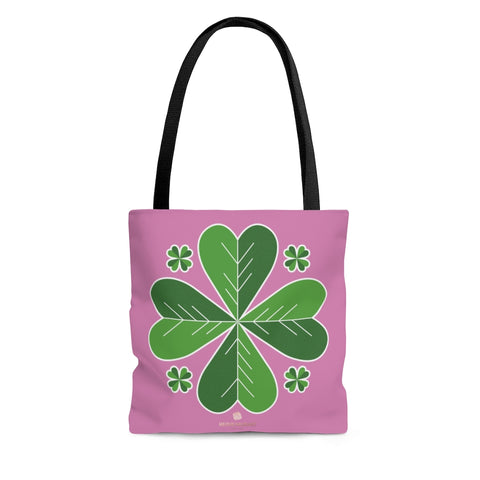 Luck Light Pink Green Irish Green Clover Leaf St. Patrick's Day Print Tote Bag- Made in USA-Tote Bag-Large-Heidi Kimura Art LLC