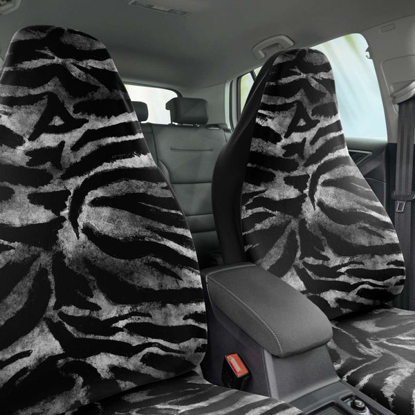 Tiger Car Seat Cover, Grey Tiger Stripe Bestselling Animal Print Essential Premium Quality Best Machine Washable Microfiber Luxury Car Seat Cover - 2 Pack For Your Car Seat Protection, Cart Seat Protectors, Car Seat Accessories, Pair of 2 Front Seat Covers, Custom Seat Covers
