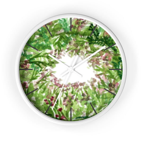 Purple French Lavender Floral Print 10 inch Diameter Wall Clock - Made in USA-Wall Clock-White-White-Heidi Kimura Art LLC