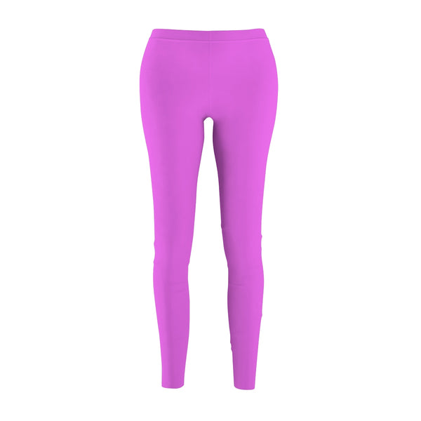 Hot Pink Women's Casual Leggings, Solid Color Print Premium Running Tights-Made in USA-Casual Leggings-M-Heidi Kimura Art LLC