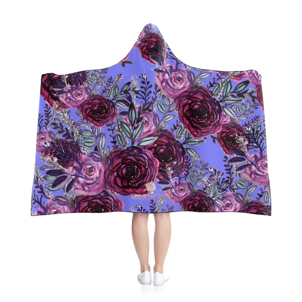 "Tori Purple Violet Princess Rose Flower Floral Print 50""x40"", 80""x56"" Adults/ Kids Hooded Blanket"