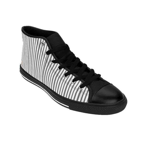 Grey Striped Men's High-top Sneakers, Modern Stripes Designer Tennis Running Shoes-Shoes-Printify-Heidi Kimura Art LLC Grey Striped Men's High-top Sneakers, Grey White Modern Stripes Men's High Tops, High Top Striped Sneakers, Striped Casual Men's High Top For Sale, Fashionable Designer Men's Fashion High Top Sneakers, Tennis Running Shoes (US Size: 6-14)