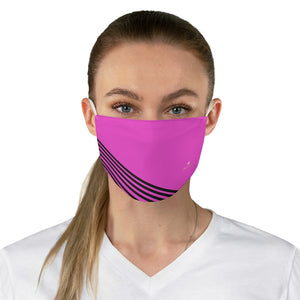 "Pink Black Striped Face Mask, Modern Adult's Fashion Face Mask For Men/ Women, Designer Premium Quality Modern Polyester Fashion 7.25"" x 4.63"" Fabric Non-Medical Reusable Washable Chic One-Size Face Mask With 2 Layers For Adults With Elastic Loops-Made in USA"