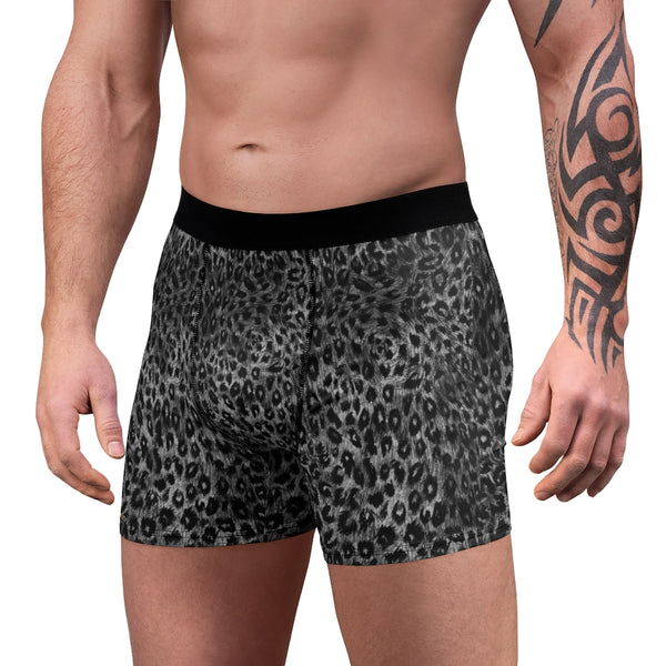 Grey Leopard Men's Boxer Briefs, Animal Print Premium Quality Underwear For Men-All Over Prints-Printify-L-Black Seams-Heidi Kimura Art LLC Grey Leopard Men's Boxer Briefs, Animal Print Premium Quality Sexy Modern Hot Men's Boxer Briefs Hipster Lightweight 2-sided Soft Fleece Lined Fit Underwear - (US Size: XS-3XL)