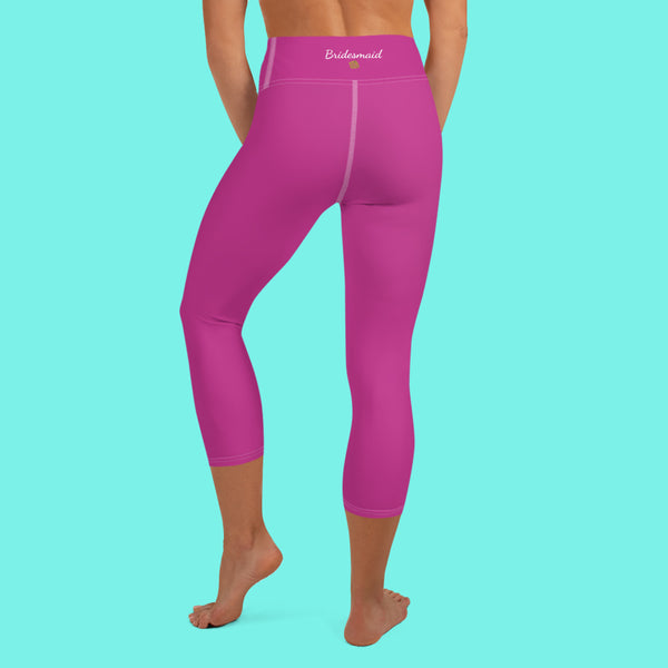Hot Pink Bridesmaid Print Premium Yoga Capri Leggings-Made in USA-Capri Yoga Pants-Heidi Kimura Art LLC