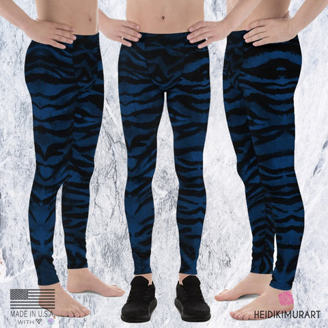 Navy Blue Tiger Meggings, Blue Tiger Stripe Meggings, Blue and Black Tiger Stripe Animal Print Men's Yoga Pants Running Leggings & Tights- Made in USA/ Europe/ MX (US Size: XS-3XL) Tiger Leggings, Tiger Stripe Pants, Tiger Stripe Mens Running Fitness Tight Leggings, Meggings, Tiger Stripe Leggings, Tiger Workout Leggings, Tiger Stripe Print Leggings