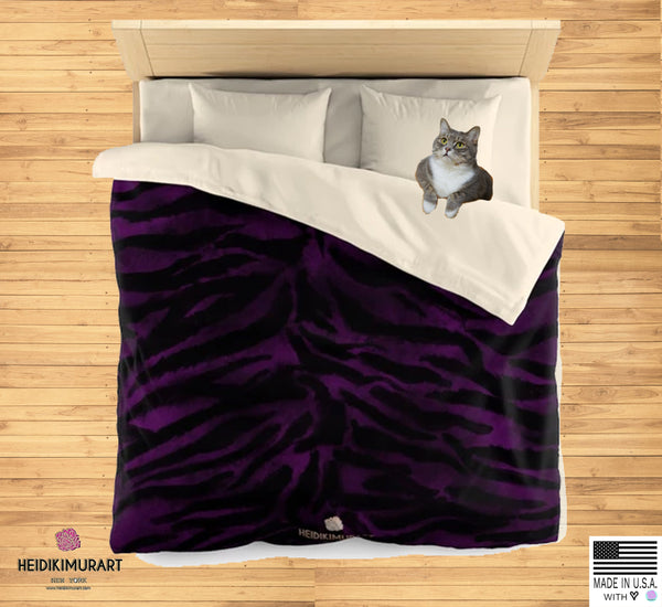 Purple Bengal Tiger Stripe Print Queen/Twin Size Microfiber Duvet Cover-Made in USA, Tiger Stripe Animal Print Bedding Duvet Cover - Heidi Kimura Art LLC