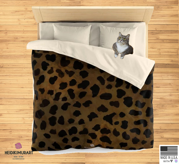 Brown Leopard Animal Print Soft Lightweight Microfiber Duvet Cover-Made in USA - Heidi Kimura Art LLC