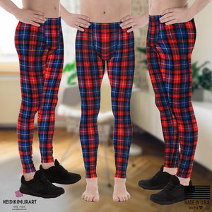 Red Plaid Meggings, Classic Red Plaid Print Men's Running Leggings Run Tights Meggings Pants, Compression Tights- Made in USA/EU (US Size: XS-3XL) Classic Red Plaid Print Men's Running Leggings Tights Meggings Pants- Made in USA/EU-Men's Leggings-Heidi Kimura Art LLC