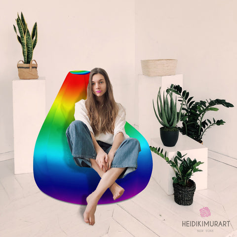"Rainbow Bean Bag Chair, Gay Pride Colorful Modern Minimalist Solid Color Designer Large Sofa Chair w/ filling or Bean Bag Cover Only, Water Resistant Polyester Bean Sofa Bag W: 58""x H: 41"", Best Sofa Chair Living Room Seat Indoor Big Furniture"