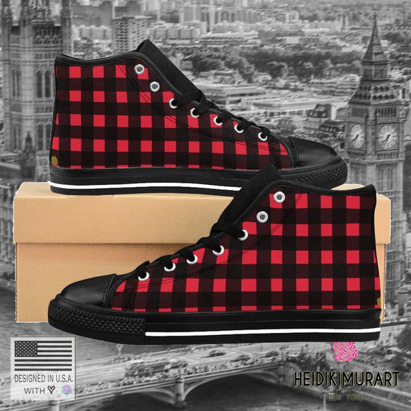 Buffalo Red Plaid Print Men's High-top Sneakers Running Shoes (US Size: 6-14)-Men's High Top Sneakers-Heidi Kimura Art LLC