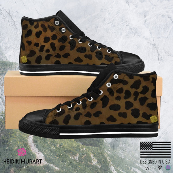 Brown Leopard Print Men's High-top Fashion Lace Up Fashion Sneakers Tennis Shoes-Men's High Top Sneakers-Heidi Kimura Art LLC Brown Leopard Print Men's Sneakers, Brown Leopard Cheetah Animal Print Men's High-top Fashion Lace Up Fashion Sneakers Tennis Shoes (US Size: 6-14)