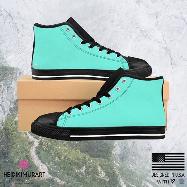 Turquoise Blue Solid Color Women's High Top Sneakers Running Shoes (US Size: 6-12)-Women's High Top Sneakers-Heidi Kimura Art LLC Turquoise Blue Women's Sneakers, Turquoise Blue Solid Color Women's High Top Sneakers Running Shoes (US Size: 6-12)