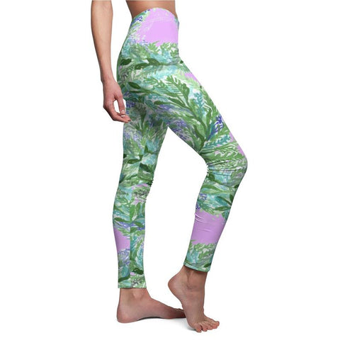 Light Pink French Lavender Floral Print Women's Casual Leggings-Made in USA-Casual Leggings-Heidi Kimura Art LLC Light Pink Floral Causal Tights, Pink French Lavender Women's Casual Leggings, Made in USA, Size: XS-2XL, Lavender Leggings Leggins, Lavender Pants, Flower Tights