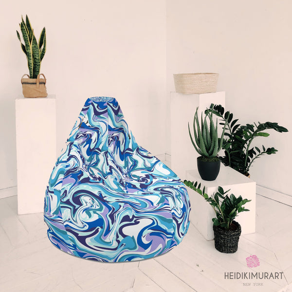 "Blue Marble Sofa Bean Bag, Blue Purple White Luxury Designer Watercolor Abstract Print Water Resistant Polyester Bean Sofa Chair Bag W: 58""x H: 41"" Chair With Filling Or Bean Bag Cover Without Filling- Made in Europe"