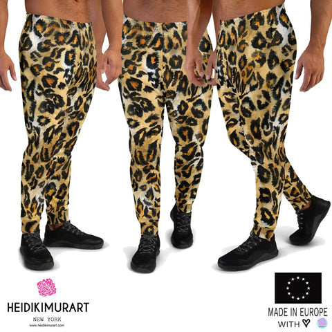 Brown Leopard Men's Joggers, Brown Leopard Animal Print Men's Designer Ultra Soft & Comfortable Casual Sweatpants, Men's Rave Party Fun Joggers, Men's Jogger Pants-Made in EU (US Size: XS-3XL)