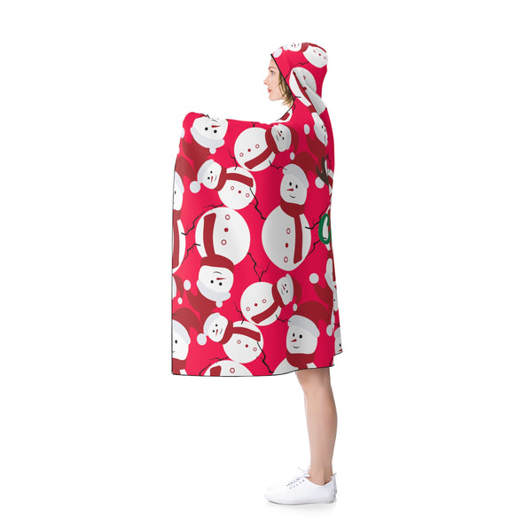 Red Festive Lightweight Christmas Red Snowman Holiday Party Hooded Blanket-Hooded Blanket-80x56-Heidi Kimura Art LLC