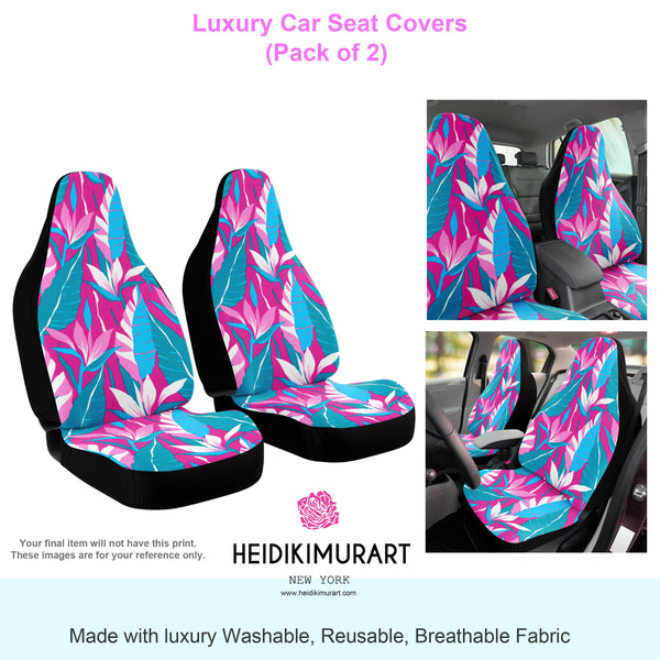 Purple Tiger Seat Covers, 2 Piece Tiger Striped Designer Animal Print Microfiber Seat Covers