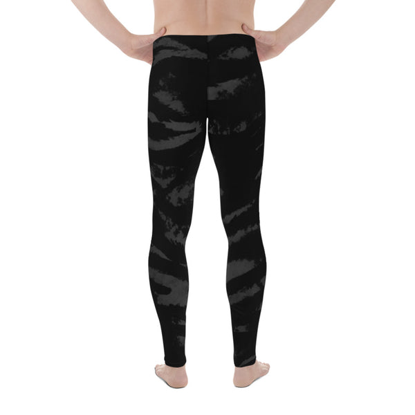 Black Tiger Stripe Print Meggings, Cool Flexible Black Tiger Stripe Animal Print Premium Quality Men's Running Leggings Meggings & Run Tights- Made in USA/ Europe (US Size: XS-3XL) Tiger Leggings, Tiger Stripe Pants, Tiger Stripe Mens Running Fitness Tight Leggings, Meggings, Tiger Stripe Leggings, Tiger Workout Leggings, Tiger Stripe Print Leggings