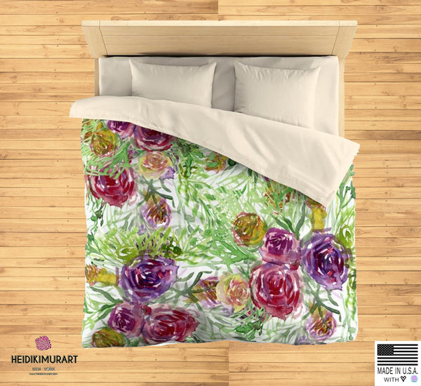 Purple Garden Floral Rose Soft Polyester Microfiber Duvet Cover-Made in USA-Duvet Cover-Heidi Kimura Art LLC